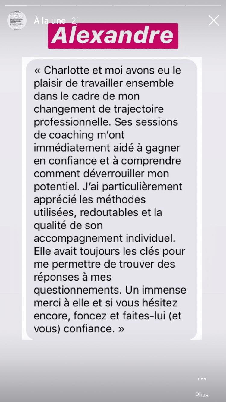 Avis coaching confiance en soi Charlotte Scapin - Carbone Theory